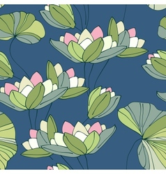 waterlily seamless flower tropical pattern vector image