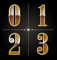 western gradient alphabet letters vintage numbers vector image