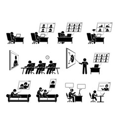 wfh or work from home video conference online vector image