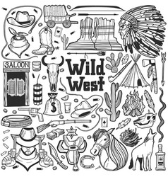 wild west set in hand drawn style vector image