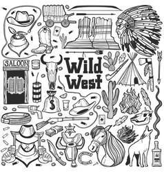 Wild west set in hand drawn style vector