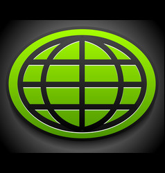 wire-frame globe on green oval over dark backdrop vector image