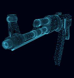 Wireframe a kalashnikov assault rifle made vector