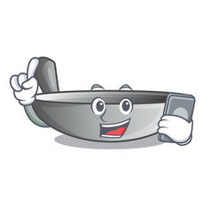 With phone character kitchenware wok for cooking vector