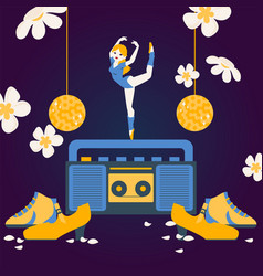 woman dancing on tape recorder ballerina cartoon vector image