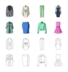 women clothing cartoonoutline icons in set vector image