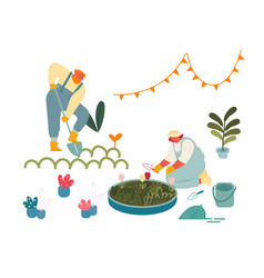 Women enjoying gardening hobby farmers in vector
