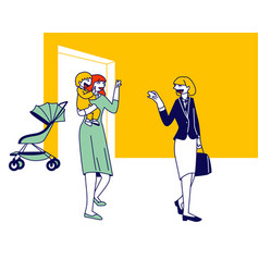young woman mother waving hand saying good bye to vector image