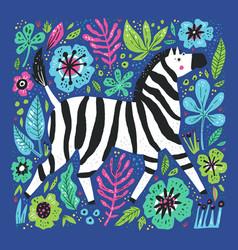 zebra flat hand drawn vector image
