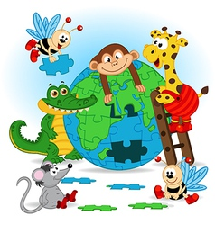 animals puzzle earth vector image vector image