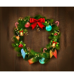 Festive Christmas Wreath Poster vector image vector image