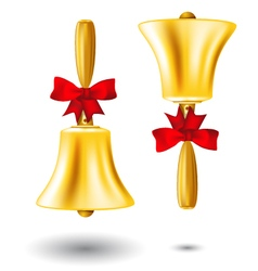 Golden school handbell - back to school vector image