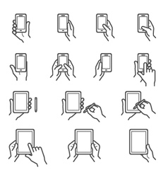 Hand Touching Screen Icons vector image vector image