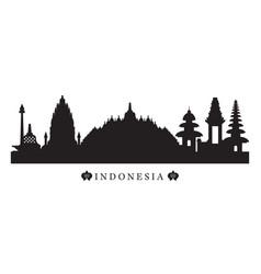 indonesia landmarks skyline in black and white vector image vector image