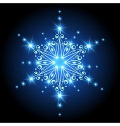 Magic Christmas Snowflake with glowing stars Xmas vector image