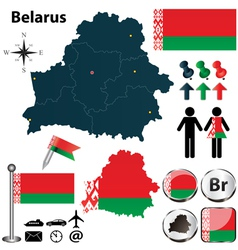 Map of Belarus vector image vector image