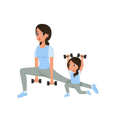 mother and daughter doing morning exercises with vector image vector image