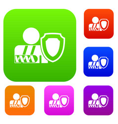 oken arm and safety shield set collection vector image