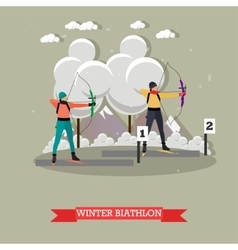 Sport shooting banner Archery biathlon vector image