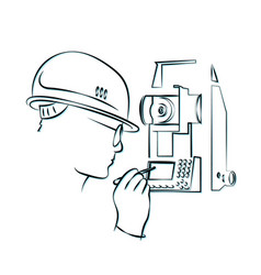 Surveying and geodetic instrument silhouette vector