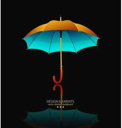 umbrella with reflection on black background vector image vector image
