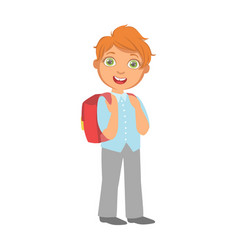 happy little schoolboy carrying red backpack a vector image