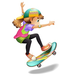 A lady with a colourful skateboard vector image vector image