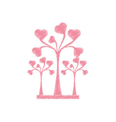 Drawing pink trees heart delicate decorative vector