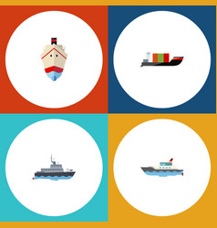 flat icon ship set of delivery tanker ship and vector image
