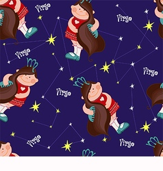 Pattern with virgo on a blue background vector