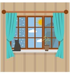 Seasons outside the room vector image vector image