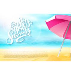 summer travel banner with sun umbrella vector image vector image