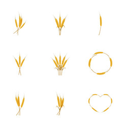 wheat ears or rice icons set cartoon style vector image