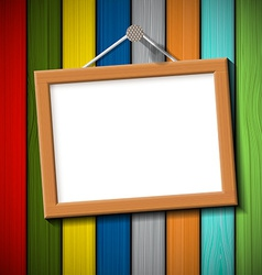wooden frame on a colored wall vector image vector image