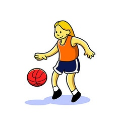 Girl Teen Playing Basketball vector image