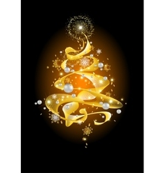 Golden abstract Christmas tree vector image