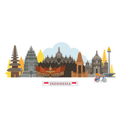 indonesia architecture landmarks skyline vector image