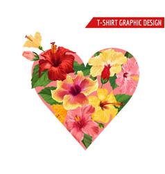 love romantic floral heart design hibiscus flowers vector image vector image