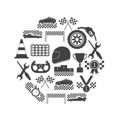 racing sport black icons round design template set vector image vector image