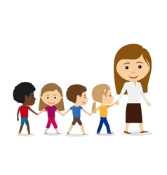 Teacher with kids on white background vector image vector image