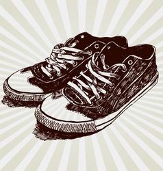 vintage sneakers vector image