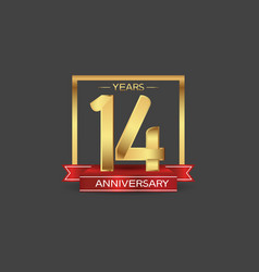 14 years anniversary logo style with golden vector