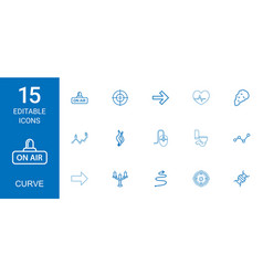 15 curve icons vector