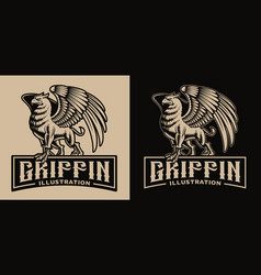 A black and white badge with griffin vector