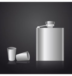 alcohol silver hip flask eps10 vector image