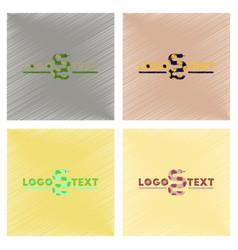 assembly flat shading style icons snake logo vector image