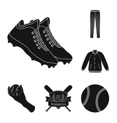 Baseball and attributes black icons in set vector