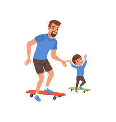 Bearded father and his little son riding on vector