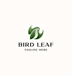 bird with leaf concept logo template isolated in vector image