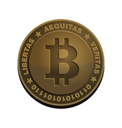 Bitcoin Coin Bronze Realistic Sign vector
